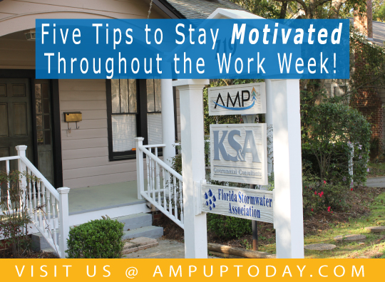 Five Tips to Stay Motivated - AMP Blog Post Header Graphic